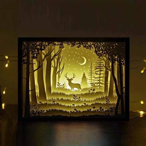 The Deer In The Deep Forest At Night Papercut Light Boxes Unique Night Lights Papercut Lightbox Template
