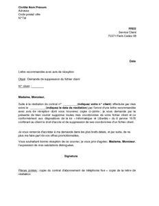 Exemple De Lettre Commerciale Pour Un Client Lettre De Demande De Suppression Du Fichier Client Free Mod 232 Le De Lettre Gratuit Exemple De