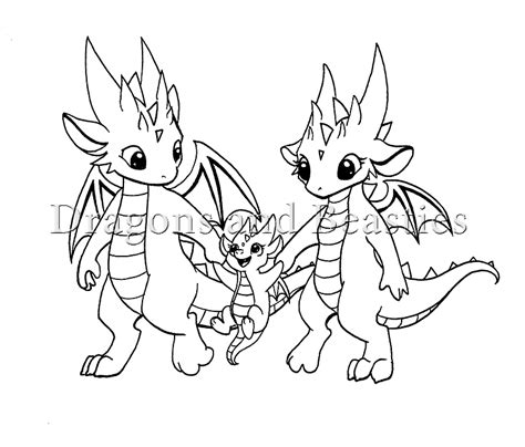Dragon Family Coloring Page | inktober little dragon family by dragonsandbeasties on