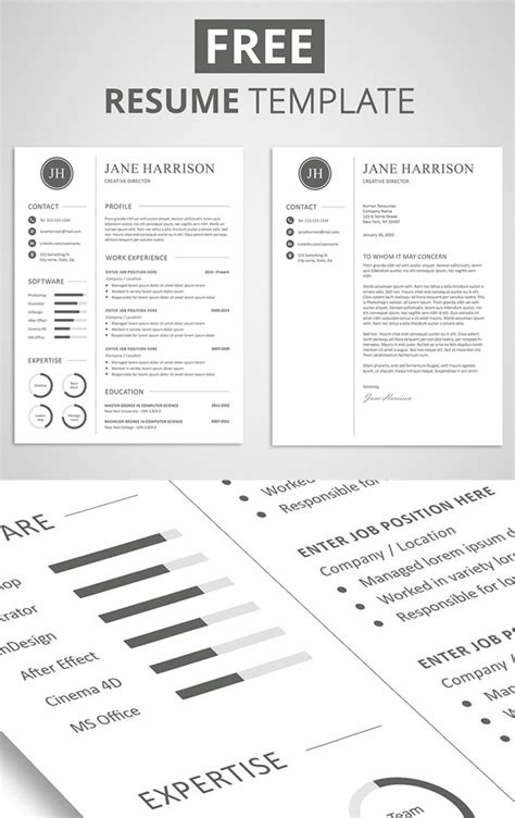 Resume Templates With Design For Free Free Minimalistic Cv Resume Templates With Cover Letter Template Design Graphic Design Junction