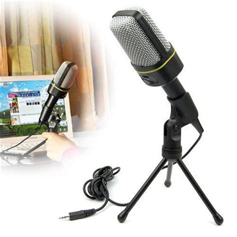 New 35mm Microphone Mic Pc Laptop Chat Record Tripod Stainless Metal cheap computer condenser microphone stand studio microphone 3 5mm wired clip retro mini handheld