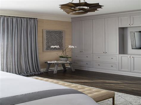 master bedroom floor  ceiling gray built  cabinets flatscree tv ideas
