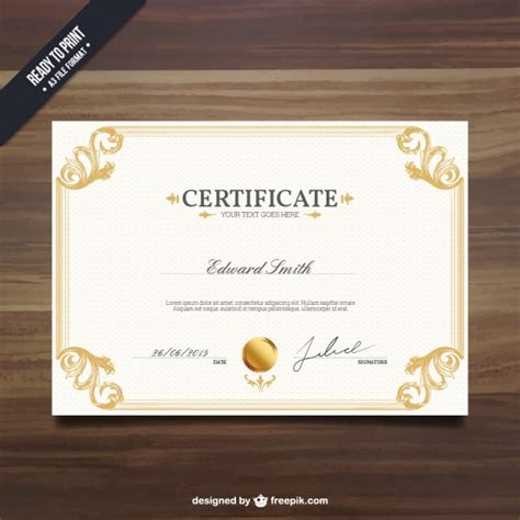 ornamental certificate template vector free download