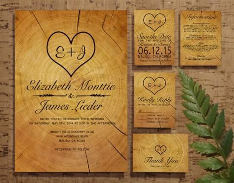 tree ring wedding invitation set suite invites save the