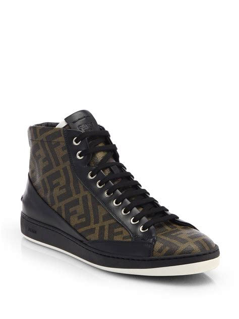 fendi sneakers fendi zucca hightop leather sneaker in brown for lyst