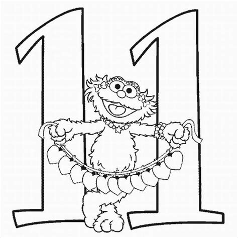 Free Coloring Pages Of The Number 11 Number 11 Coloring Page