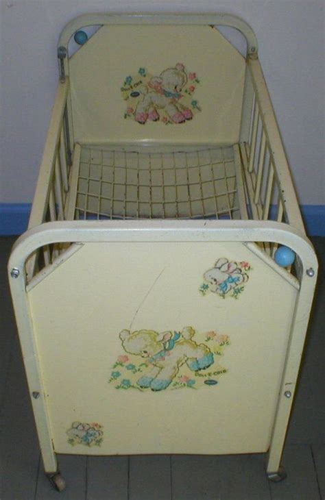 vintage antique doll e crib bed amsco metal deluxe