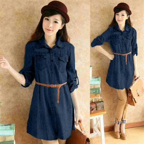 Baju Dress Wanita Dress Denim baju mini dress denim cantik model terbaru murah