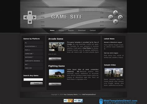 game website layout html css layout game website template free download