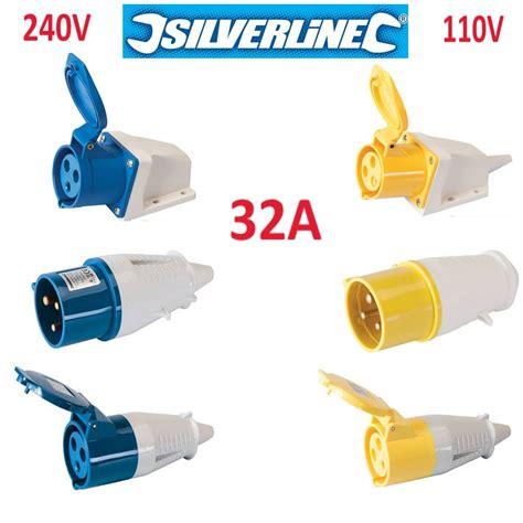 240v electrical wire connectors 32a 32 socket montable socket 110v 240v blue