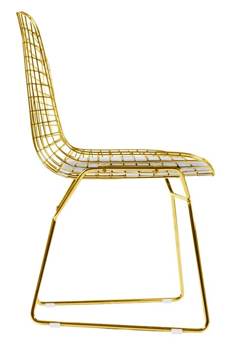Chaise Bertoia Bertoia Wire Side Chair In Gold Finish Home And Office