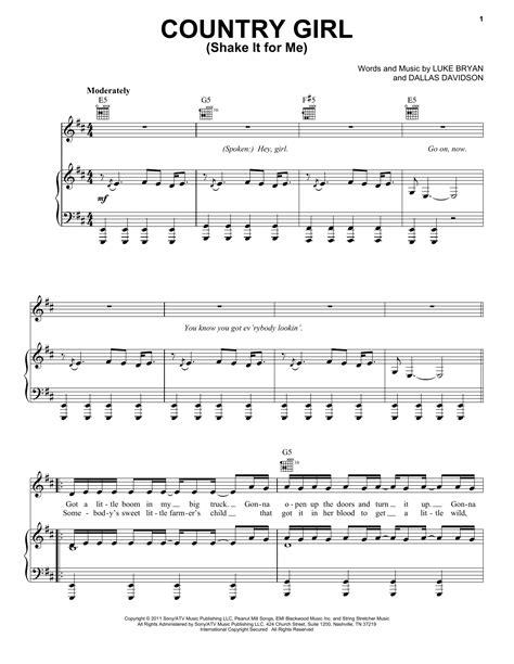 luke bryan guitar chords luke bryan country girl shake it for me sheet music