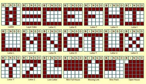 bingo pattern exles 1000 images about bingo patterns on pinterest bingo