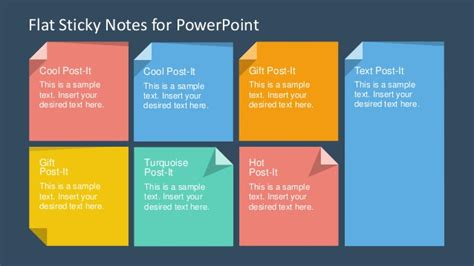 template ppt flat free slidemodel com flat sticky notes powerpoint template