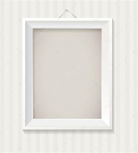 cornice a giorno 60x90 white empty frame hanging on the wall stock vector