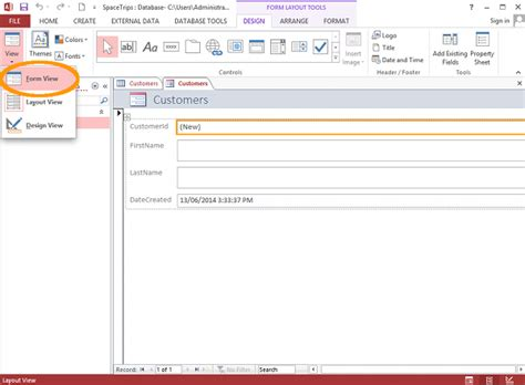 how to get layout view in access 2013 how to create a form in access database guide