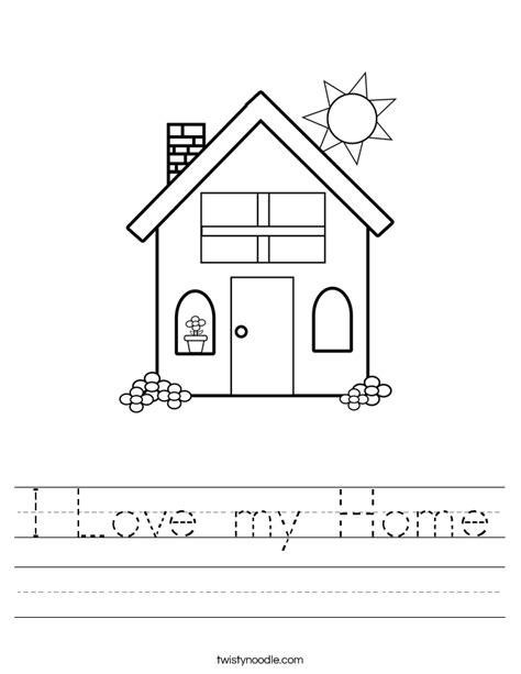 kindergarten activities my house i love my home worksheet twisty noodle