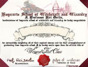 Hogwarts Certificate Template by Diploma Hogwarts Diploma