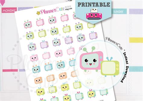 free printable kawaii planner stickers kawaii tv printable planner stickers k008 partymazing