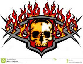 skull template with flames image stock photos image