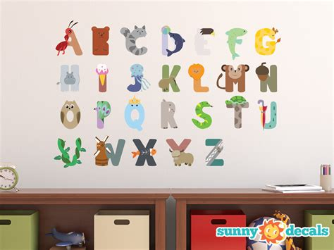 animal alphabet fabric wall decals repositionable and