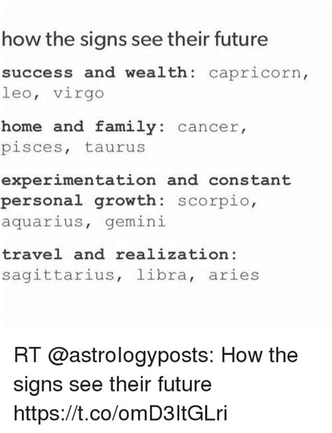 how the signs see their future success and wealth