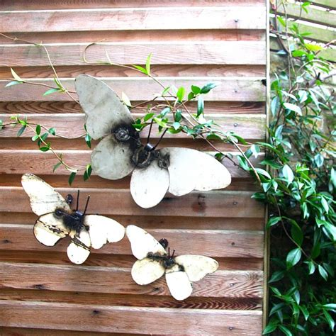garden metal wall metal butterfly garden wall set of three by
