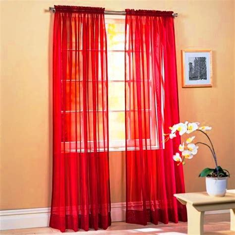 long red curtains set of 2 84 quot long red sheer voile curtains tailored curta