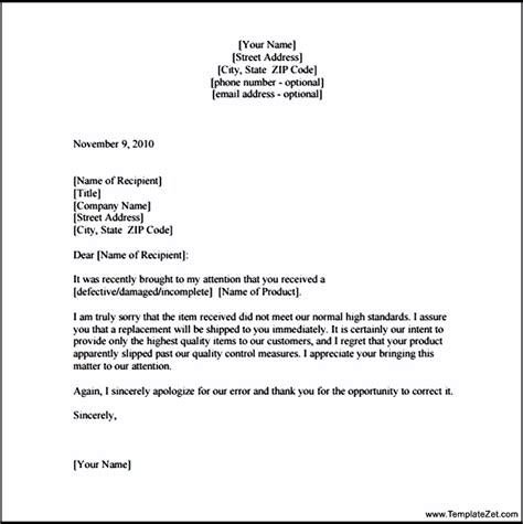 Apology Letter To Apology Letter To Customer For Damaged Goods Templatezet