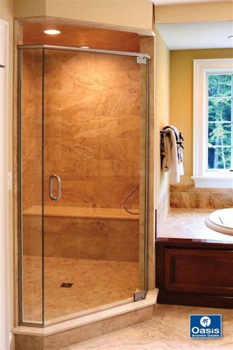 doors that swing both ways oasis frameless neo angle shower with header and pivot