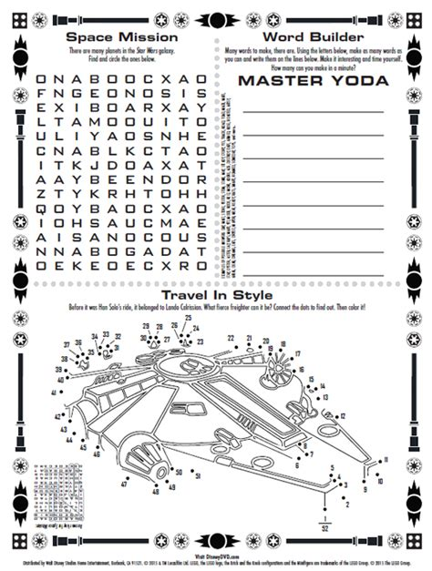 printable lego activity sheets free lego star wars yoda chronicles coloring pages
