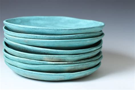 Handmade Plate - 8 5 matte turquoise stoneware ceramic shallow by vitreouswares