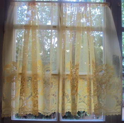 yellow cafe curtains french cafe curtain yellow sheer lace panels with sunflowers