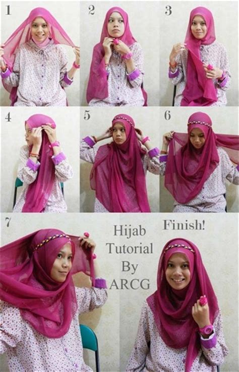 step by step pictorial tutorials of different style puff beautiful different hijab styles with step by step