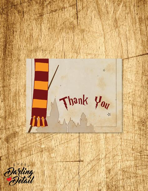 printable harry potter thank you cards harry potter inspired thank you card blank interior