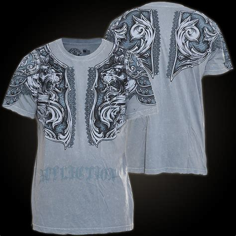 A492 Shirt affliction t shirt gladiator in grey with breastplate