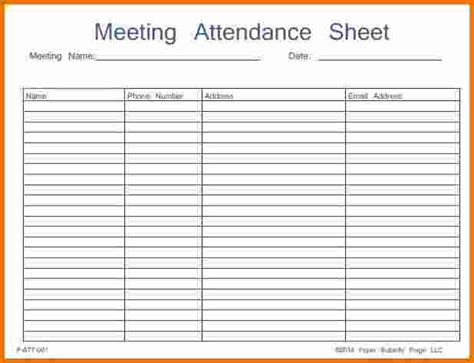 Meeting Register Template 46 best attendance sheet template exles for classroom