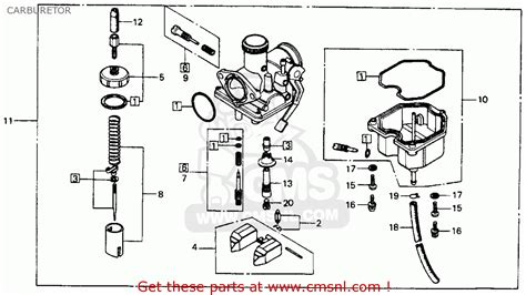 honda xl100 1977 usa carburetor schematic partsfiche