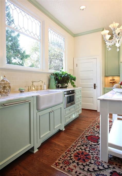 Seafoam Green Kitchen by Mint Green Kitchen Cabinets Transitional Kitchen