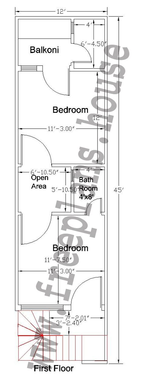 50 meters to feet 12 215 45 feet 50 square meter house plan