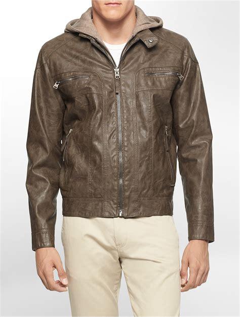 calvin klein performance moto scuba vest with hood calvin klein white label faux leather hooded moto jacket