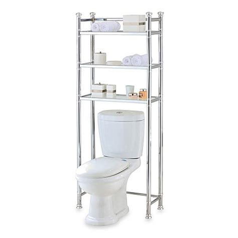 Space Saver Bathroom Storage No Tools Bathroom Space Saver In Chrome Glass Bedbathandbeyond Ca
