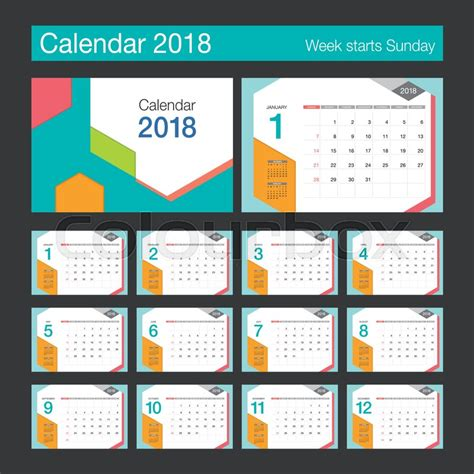 illustrator monthly calendar template 2018 2018 calendar desk calendar modern design template week