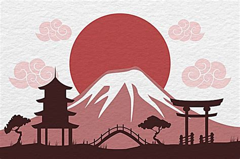 mount fuji silhouette background