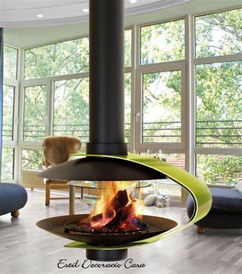 cheminee bois centrale design