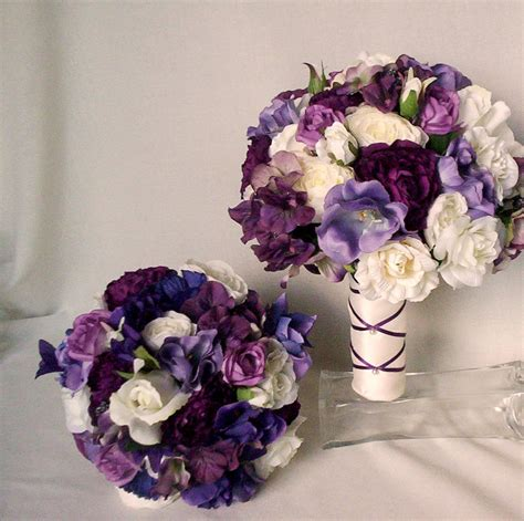 silk bridal bouquet items similar to purple bridal bouquet silk wedding flowers bridal accessories artificial