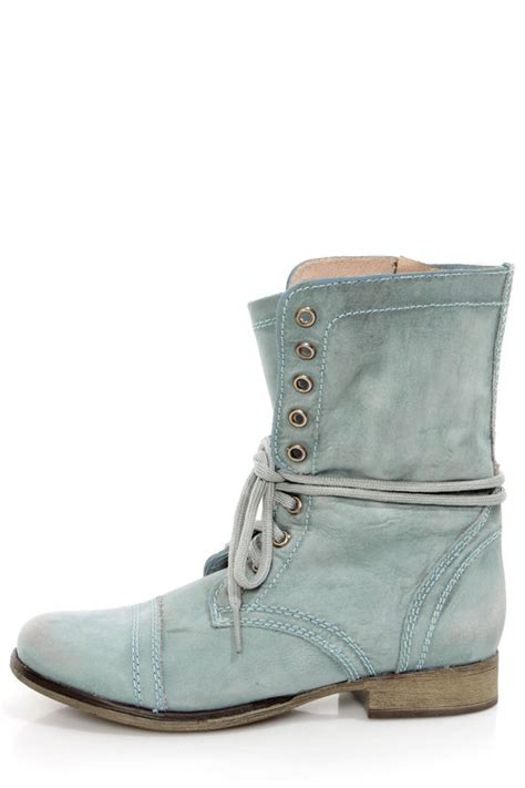 blue combat boots steve madden troopa blue leather lace up combat boots 99 00