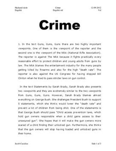 Crime And Violence Essay by Artikel Om Crime And Violence Essay I Engelsk