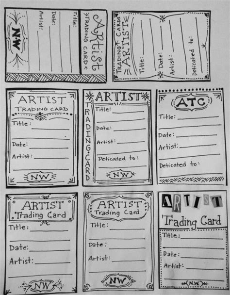 Make Your Own Trading Card Template by Make Your Own Artist Trading Card Template For Back Of Atc