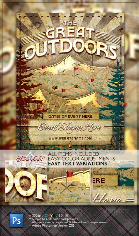 Vintage Great Outdoors Nature Flyer By Getstronghold Graphicriver Outdoor Flyer Template